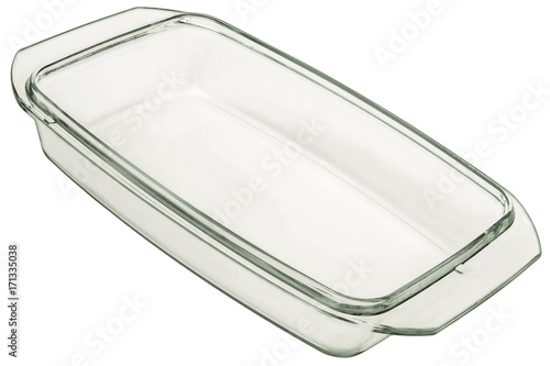 Glass Baking Pan Lid Isolated On White Background
