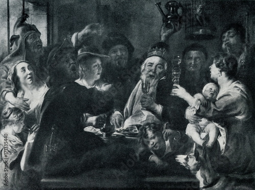 Obraz na plátně  The Bean King (The King Drinks) by Jacob Jordaens,  1638
