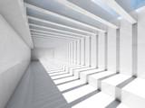 Fototapeta Perspektywa 3d - Corridor with ceiling illumination, 3d