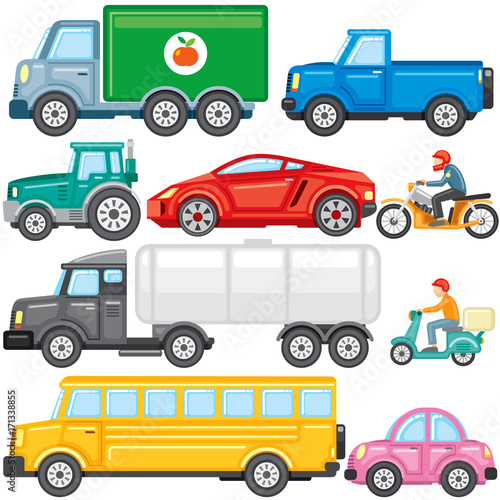 Fotografering  Flat Colored Cartoon Cars and Trucks. Vector Icons