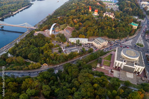 Panoramic view of the city center of Kiev. Aerial view of Arch of Friendship of Peoples, Khreshchaty Park, the main street of the city - Khreshchatyk. Ukraine © LALSSTOCK