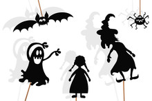 Shadow Puppets Of Baby Girl And Halloween Monsters, Isolated.