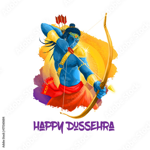 Photo  Digital art illustration for indian holiday Vijayadashami