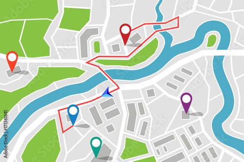Cuadros en Lienzo Map with route and gps pointers