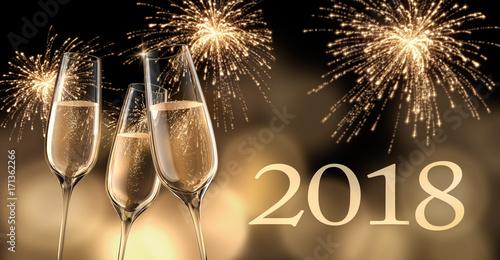 Poster  Champagnergläser mit Feuerwerk 2018