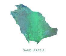 Saudi Arabia Map Green Waterco...