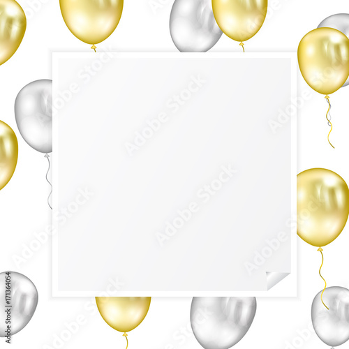 white curl sticker paper photo blank border frame with flying golden and silver balloons banner background