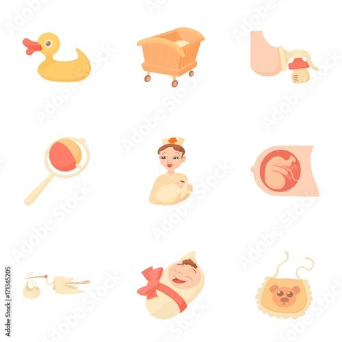 Fotografie, Obraz  Obstetrician icons set, cartoon style