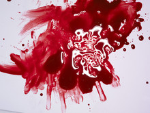 Red Paint Splash Isolated On W...