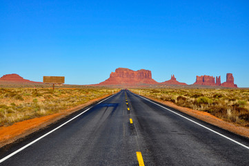Road leading to Monument Valley.