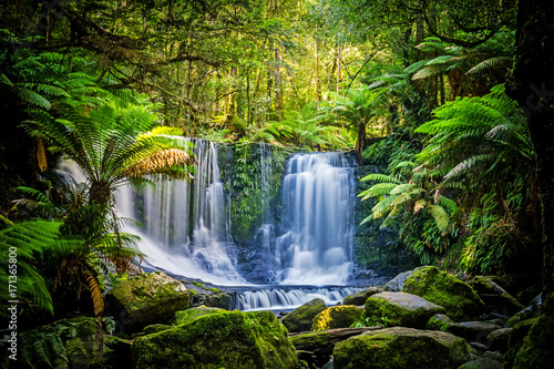 Recess Fitting Waterfalls The Horseshoe Falls at the Mt Field National Park, Tasmania, Australia