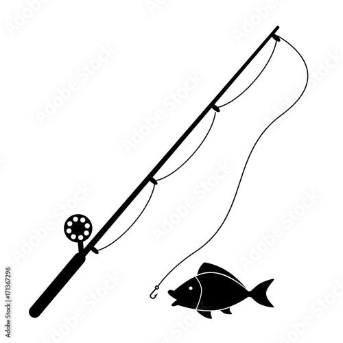 Cuadros en Lienzo Fishing rod vector icon.