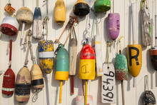 Colorful Lobster Buoys On The ...