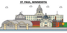 St. Paul, Minnesota. City Skyline: Architecture, Buildings, Streets, Silhouette, Landscape, Panorama, Landmarks. Editable Strokes. Flat Design Line Vector Illustration Concept. Isolated Icons