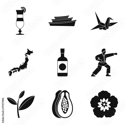 Assimilation in asia icons set, simple style Wallpaper Mural
