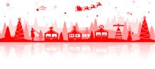 Weihnachten Weihnachtsmarkt Silhouette Rot Mit Weihnachtsbaum, Weihnachtsmann Schlitten Und Sterne