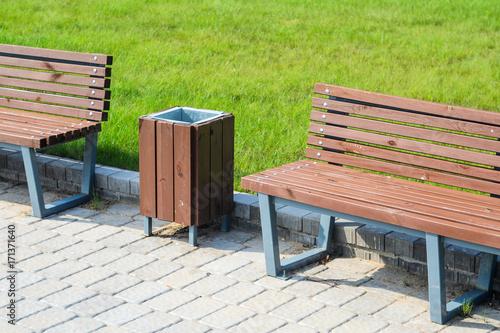 Marvelous Two Stylish Benches And A Trash Can In A Summer Park Along A Forskolin Free Trial Chair Design Images Forskolin Free Trialorg