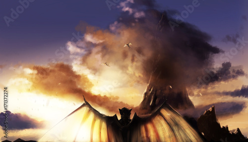 Obraz na plátne Fantasy illustration of a sunset mountain landscape with flying and standing demons with wings