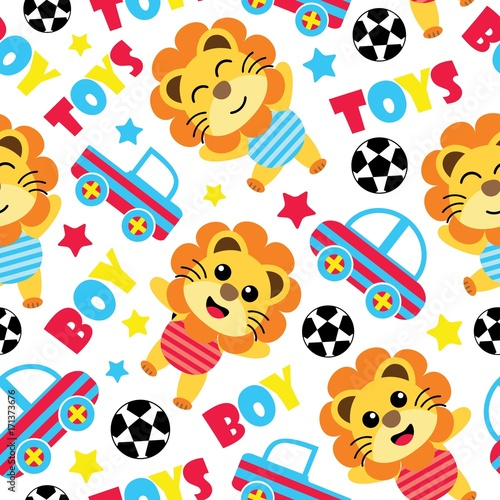 Seamless Pattern Of Cute Lion Boys Balls And Car Toys Vector Cartoon Illustration For Birthday Wrapping Paper Fabric Clothes Wallpaper