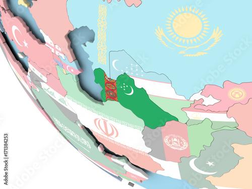 Printed kitchen splashbacks Castle Turkmenistan with flag on globe