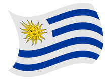 Uruguay Flag Moved By The Wind