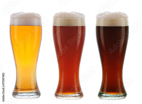 фотография Three Different beer in Galsses with Foamy Tops