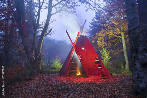 wigwam tipi and bonfire Canvas