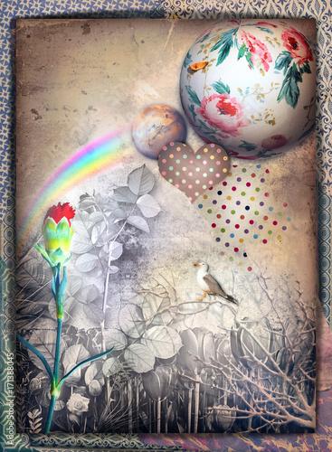 planeta-z-namalowanymi-kwiatami-czarno-biale-liscie-i-serce-w-kropki-ilustracja-w-stylu-vintage