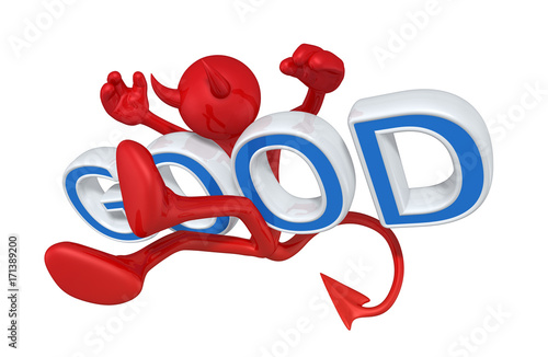 Fotografie, Obraz  The Original 3D Devil Character Illustration Hit By Good