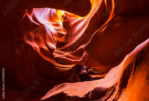 Garden Poster Brown Beautiful, abstract, red rock shapes in Antelope Canyon, on a bright sunny day in summer