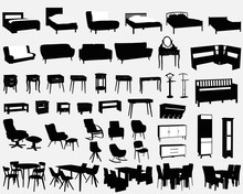 Set Of House Furniture Silhoue...