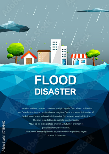 Polygonal flooding in city-Flood Disaster concept Canvas Print