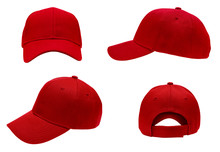 Blank Red Baseball Cap 4 View ...