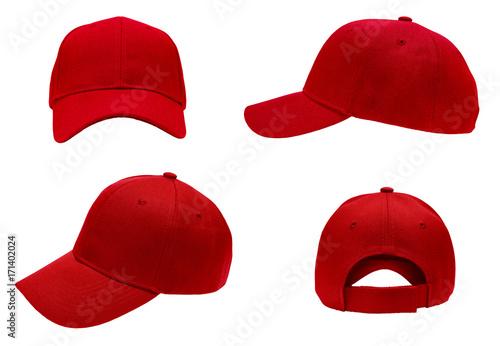 Valokuvatapetti blank red baseball cap 4 view on white background