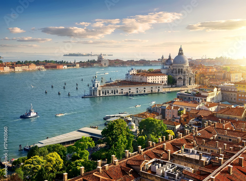 Stickers pour portes Venise Panoramic aerial view of Venice