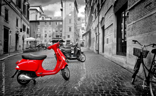 Aluminium Prints Scooter Motorbike in Rome