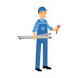 Proffesional plumber character in a blue overall standing with monkey wrench and water pipes, plumbing service vector Illustration