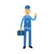 Proffesional plumber character in a blue overall standing with tool box anf showing hand gesture with a raised index finger, plumbing service vector Illustration