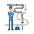 Proffesional plumber character at work, plumbing service vector Illustration