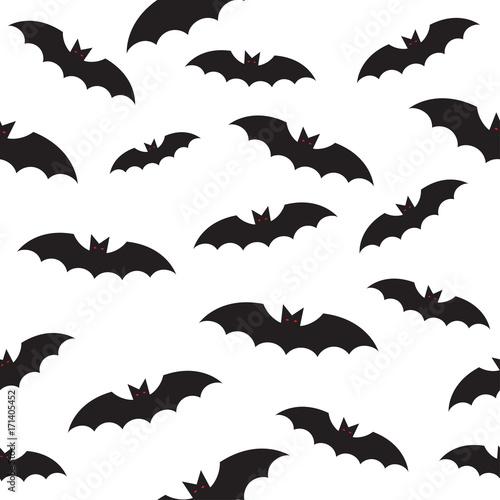 Cuadros en Lienzo black bat seamless pattern on white