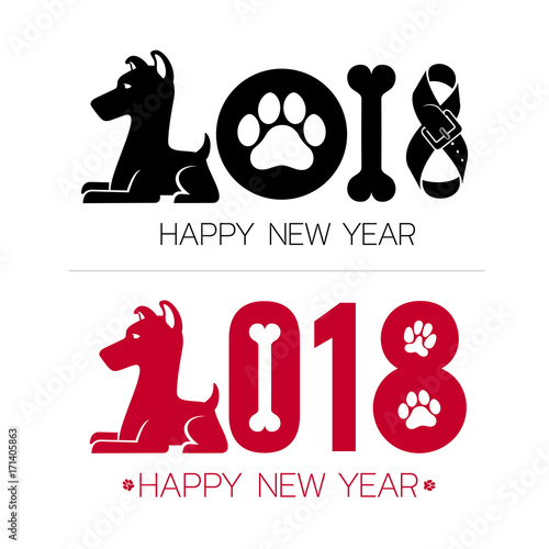 Happy New Year 2018 Text Design Calendar Dog Symbols Vector