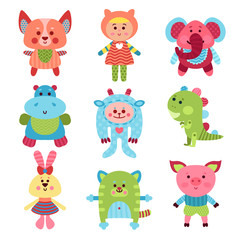 Naklejka Do pokoju dziecka Cute cartoon animals and baby toys set of colorful vector Illustrations