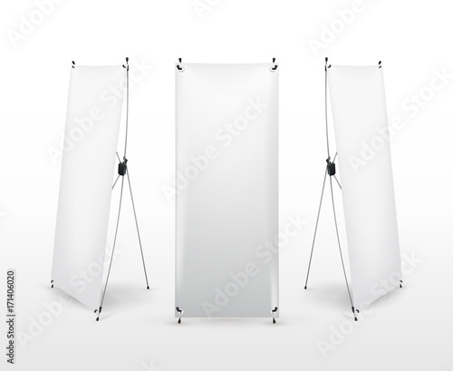 Set of X banner stand. Flip Chart for training or promotional presentation. Design template, blank pop up banner, display template for designers. Vector illustration. Isolated on white background