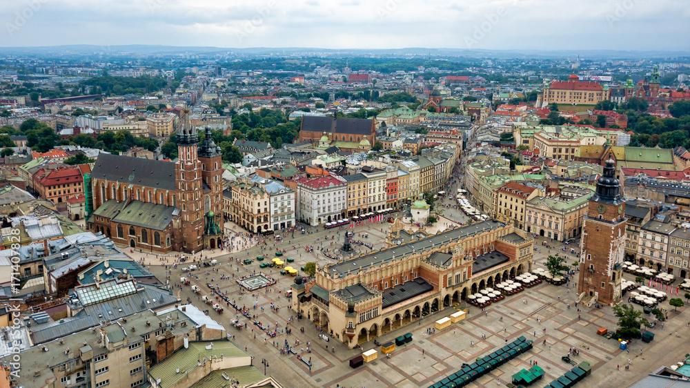 Fototapety, obrazy: Odgórny widok na główny plac Krakowa