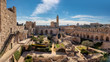 canvas print picture - Panorama of David's tower in old city of Jerusalem with view of the new Jerusalem in the distance. Israel.
