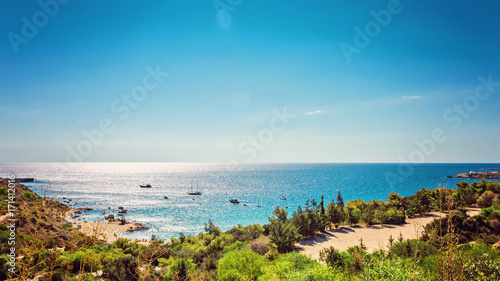 Poster Cyprus Cyprus Protaras, Konnos beach, view of lagoon Mediterranean Sea from above