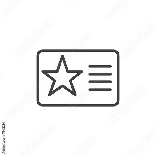 Fotografía  Membership card with star line icon, outline vector sign, linear style pictogram isolated on white