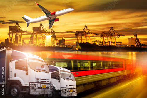 Fotografie, Obraz  Logistics and transportation of container Cargo port with working logistic impor