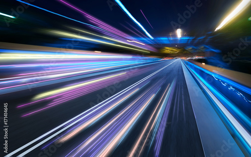 Moving forward motion blur background with light trails ,night scene Wallpaper Mural