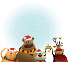 Christmas Background With Cartoon Animals